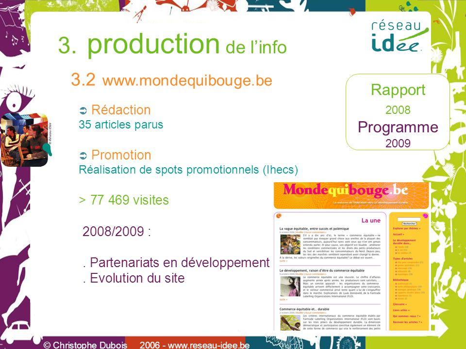 Rapport 2008 Programme 2009 © Christophe Dubois 2006 - www.reseau-idee.be 3. production de linfo 3.2 www.mondequibouge.be Rédaction 35 articles parus