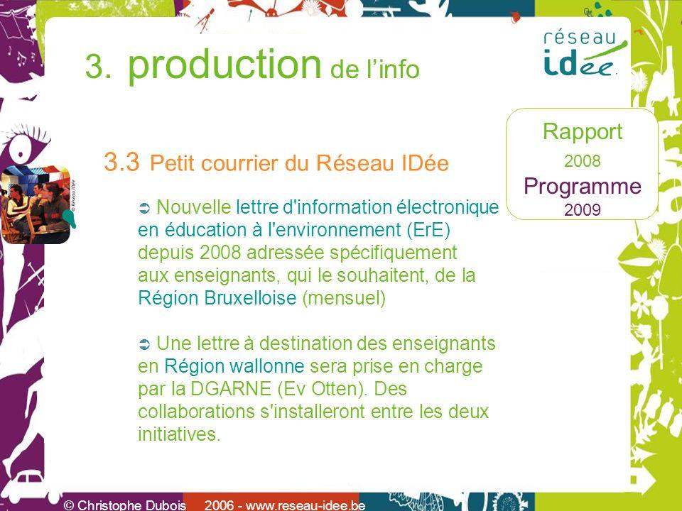 Rapport 2008 Programme 2009 © Christophe Dubois 2006 - www.reseau-idee.be 3. production de linfo 3.3 Petit courrier du Réseau IDée Nouvelle lettre d'i