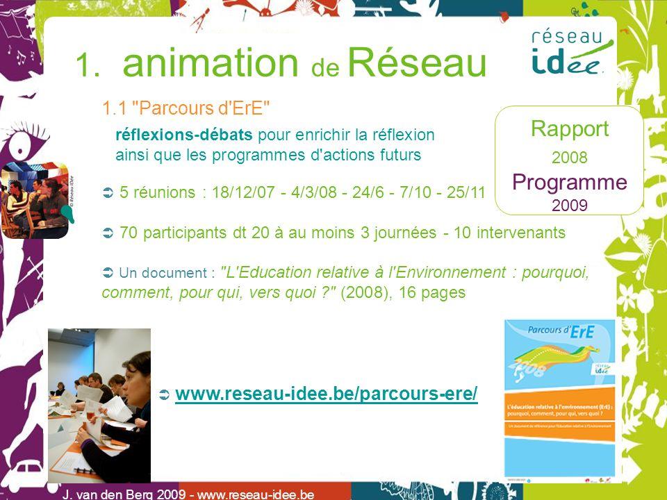 Rapport 2008 Programme 2009 1. animation de Réseau J. van den Berg 2009 - www.reseau-idee.be 1.1