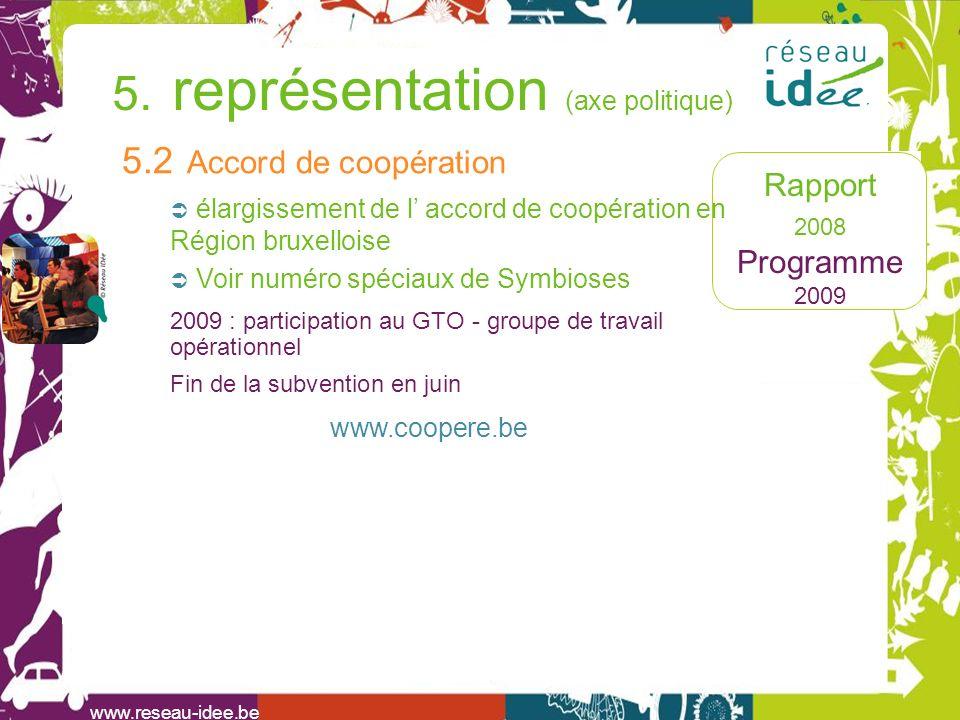 Rapport 2008 Programme 2009 www.reseau-idee.be 5. représentation (axe politique) 5.2 Accord de coopération élargissement de l accord de coopération en