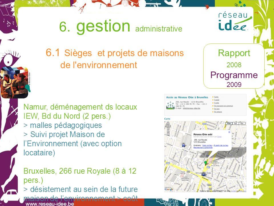Rapport 2008 Programme 2009 6. gestion administrative www.reseau-idee.be 6.1 Sièges et projets de maisons de l'environnement Namur, déménagement ds lo