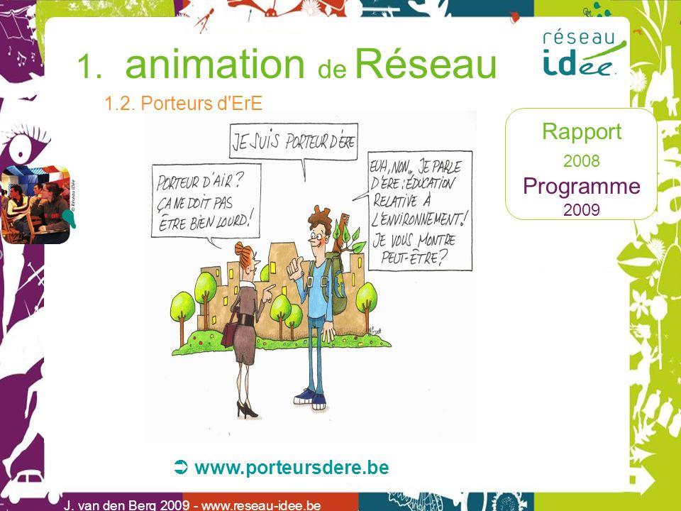 Rapport 2008 Programme 2009 1. animation de Réseau J. van den Berg 2009 - www.reseau-idee.be 1.2. Porteurs d'ErE www.porteursdere.be