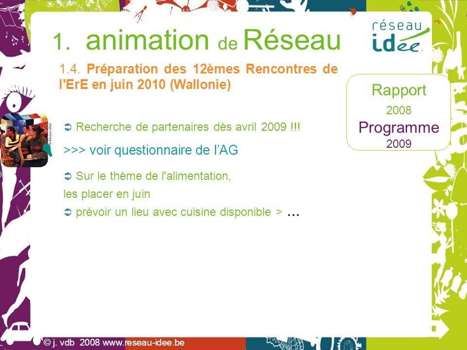 Rapport 2008 Programme 2009 1. animation de Réseau © j. vdb 2008 www.reseau-idee.be Recherche de partenaires dès avril 2009 !!! >>> voir questionnaire