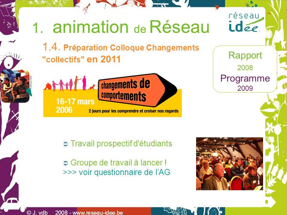 Rapport 2008 Programme 2009 1. animation de Réseau © J. vdb 2008 - www.reseau-idee.be 1.4. Préparation Colloque Changements