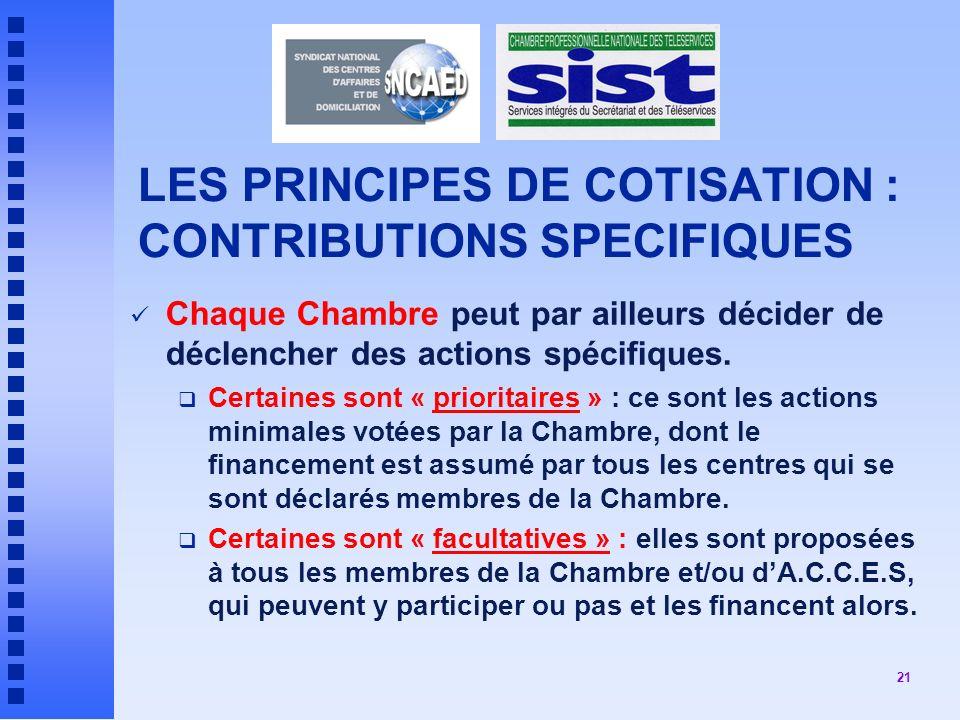 21 LES PRINCIPES DE COTISATION : CONTRIBUTIONS SPECIFIQUES Chaque Chambre peut par ailleurs décider de déclencher des actions spécifiques.