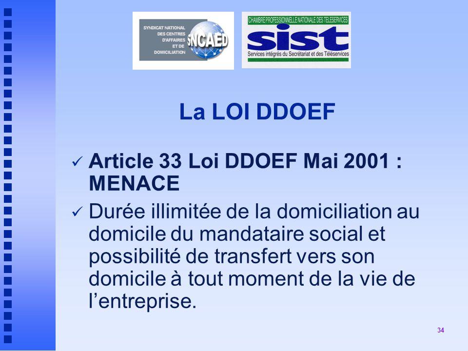 34 La LOI DDOEF Article 33 Loi DDOEF Mai 2001 : MENACE Durée illimitée de la domiciliation au domicile du mandataire social et possibilité de transfert vers son domicile à tout moment de la vie de lentreprise.