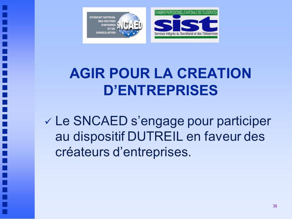 36 AGIR POUR LA CREATION DENTREPRISES Le SNCAED sengage pour participer au dispositif DUTREIL en faveur des créateurs dentreprises.