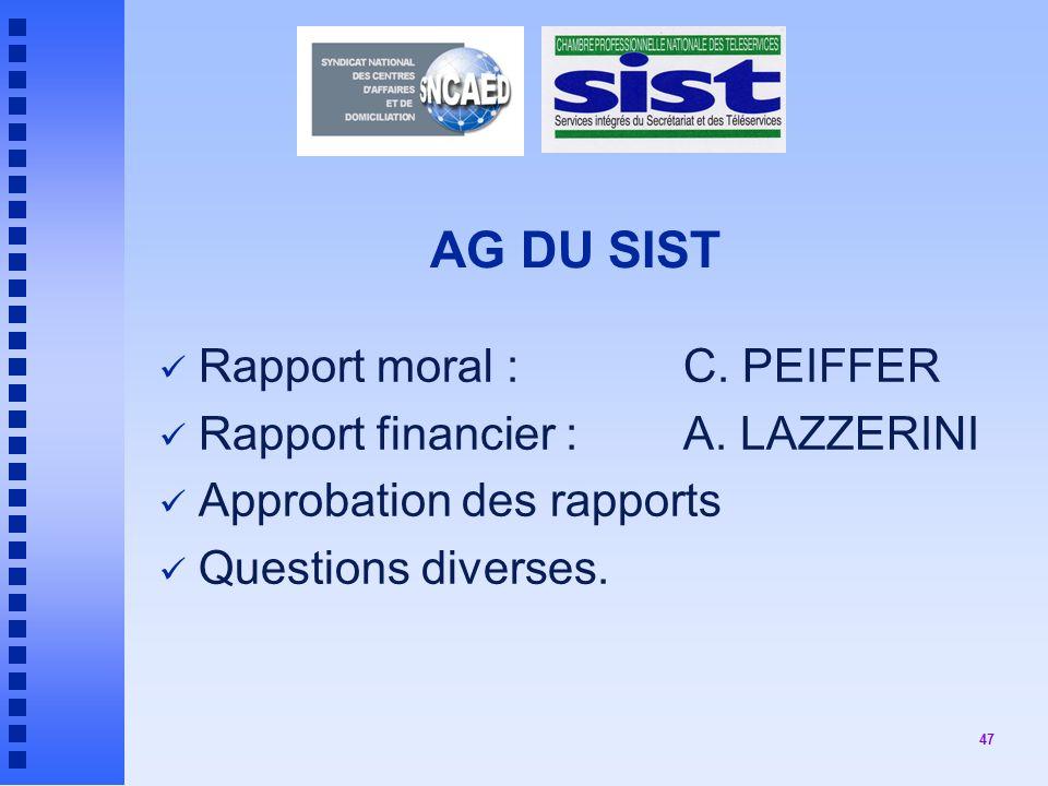 47 AG DU SIST Rapport moral : C.PEIFFER Rapport financier : A.