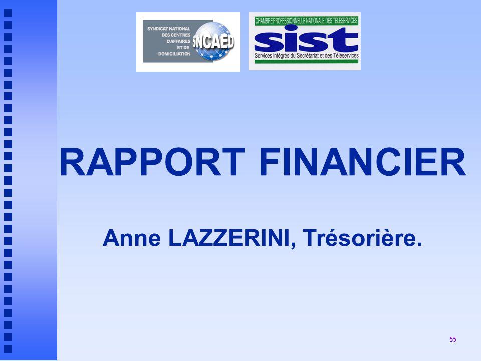 55 RAPPORT FINANCIER Anne LAZZERINI, Trésorière.