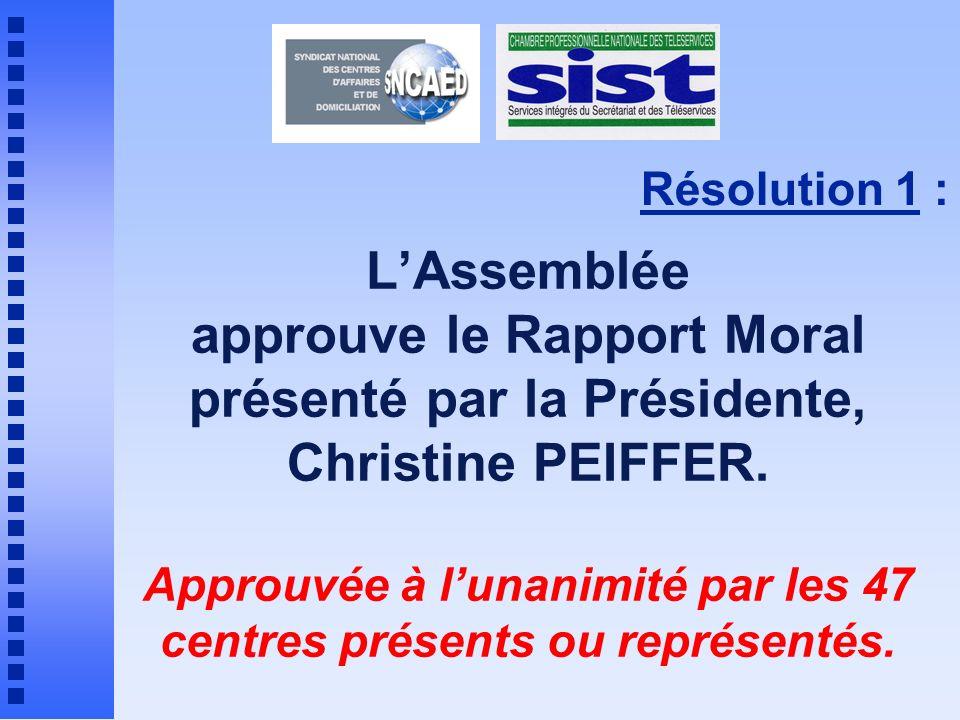 Résolution 1 : LAssemblée approuve le Rapport Moral présenté par la Présidente, Christine PEIFFER.