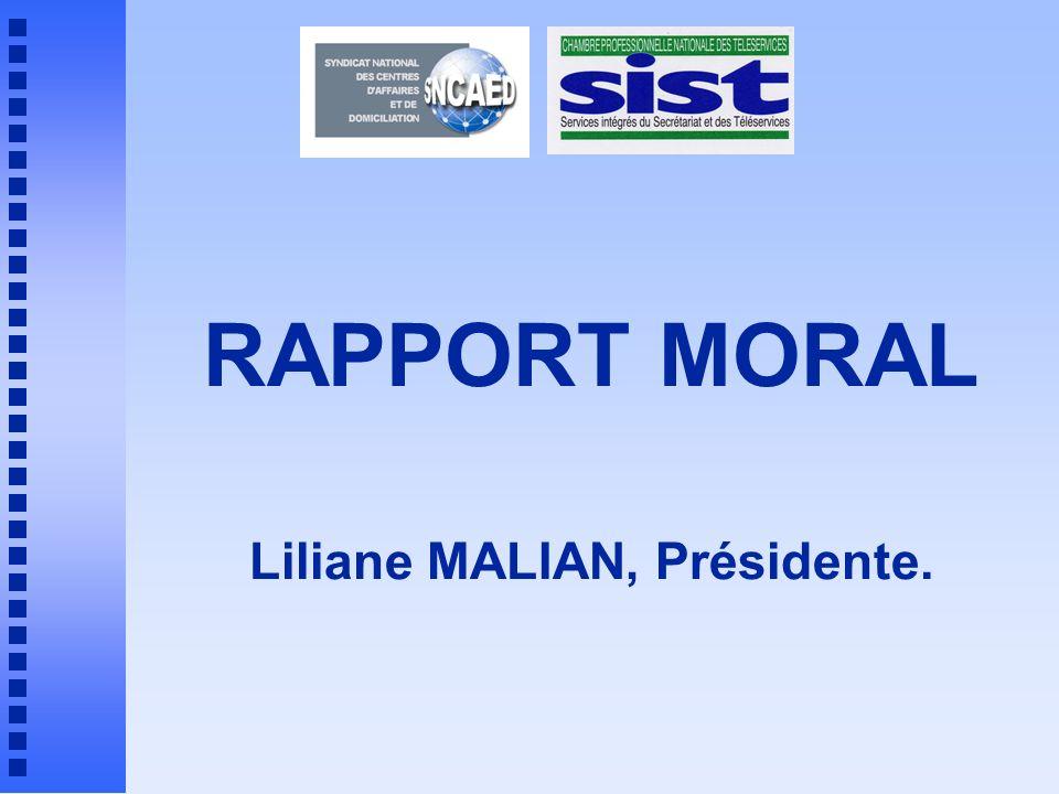 RAPPORT MORAL Liliane MALIAN, Présidente.