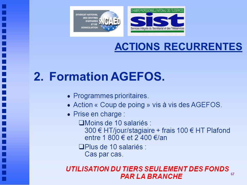 67 ACTIONS RECURRENTES 2.Formation AGEFOS.Programmes prioritaires.