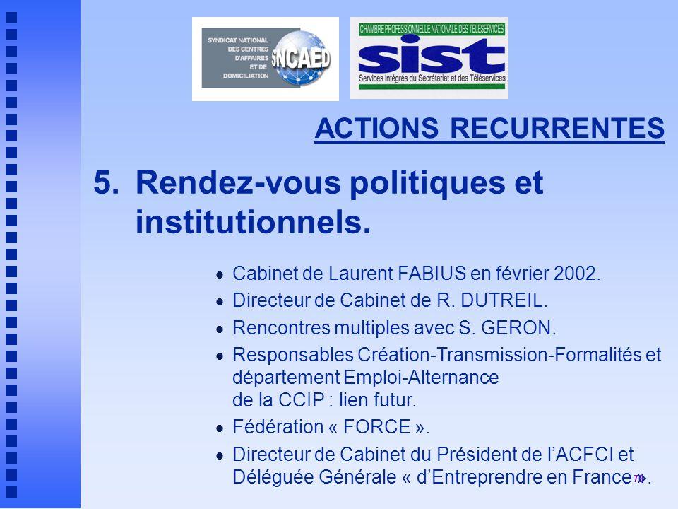 70 ACTIONS RECURRENTES 5.Rendez-vous politiques et institutionnels.