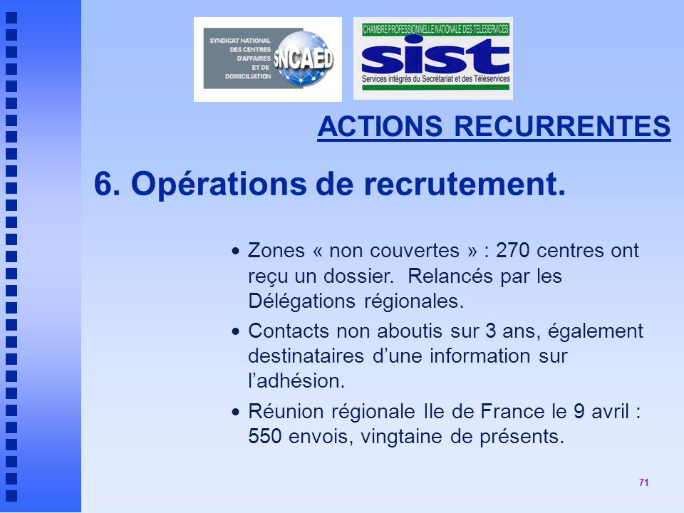 71 ACTIONS RECURRENTES 6.Opérations de recrutement.