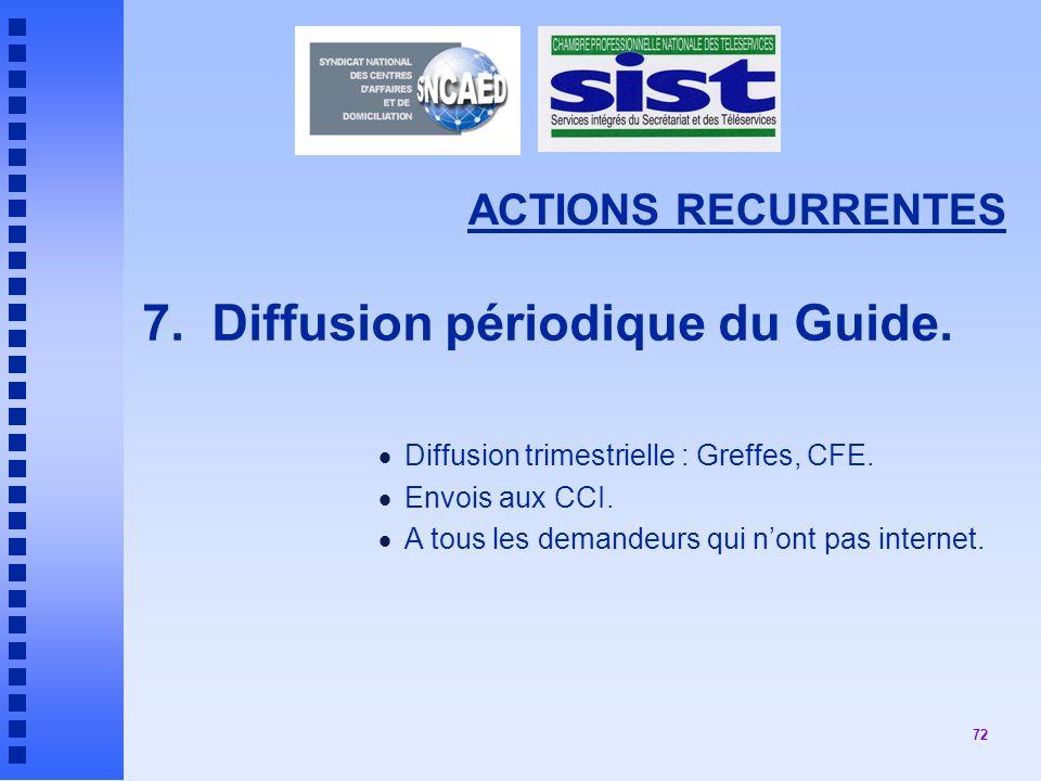 72 ACTIONS RECURRENTES 7.Diffusion périodique du Guide.