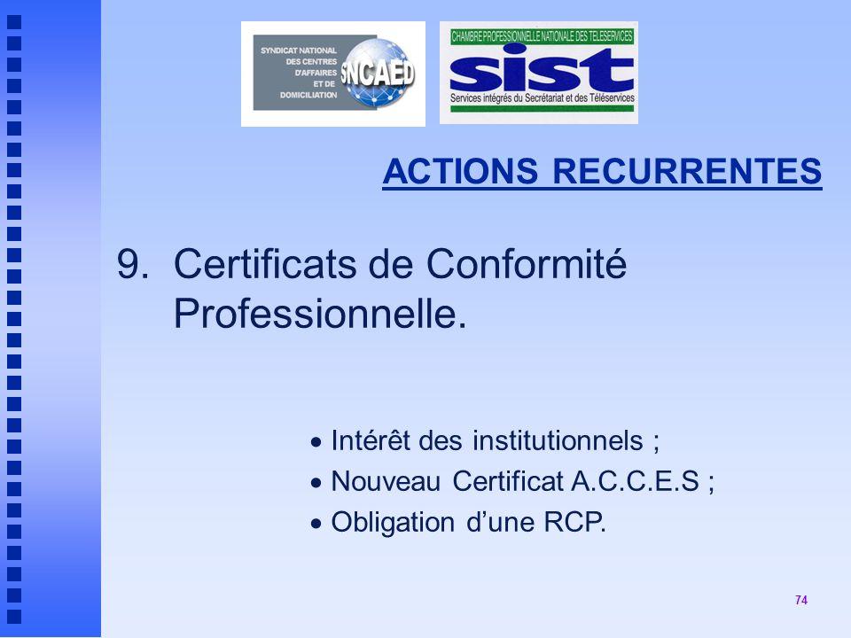 74 ACTIONS RECURRENTES 9.Certificats de Conformité Professionnelle.