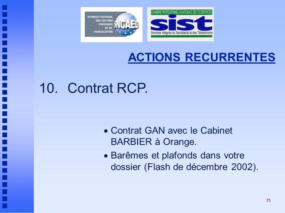 75 ACTIONS RECURRENTES 10.Contrat RCP.Contrat GAN avec le Cabinet BARBIER à Orange.