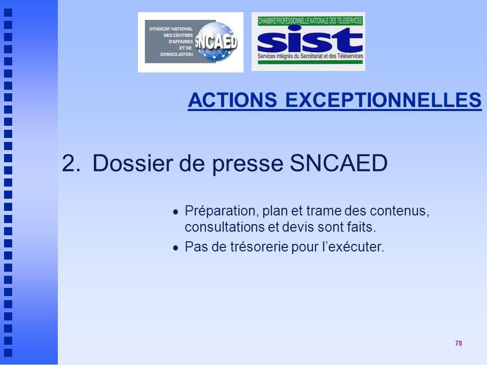 78 ACTIONS EXCEPTIONNELLES 2.Dossier de presse SNCAED Préparation, plan et trame des contenus, consultations et devis sont faits.