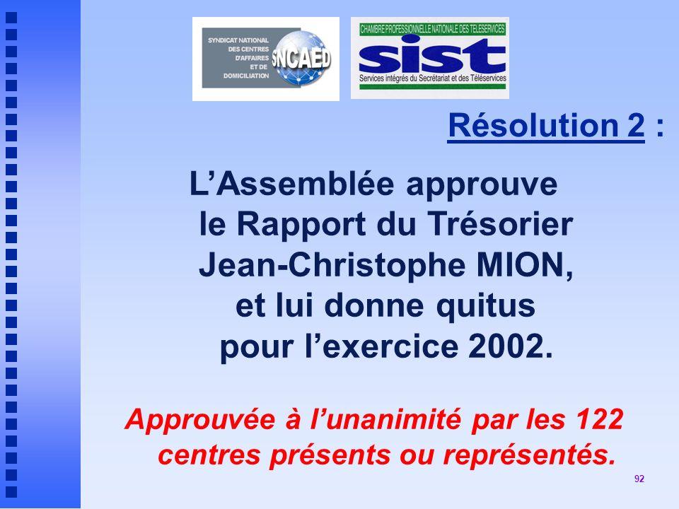 92 Résolution 2 : LAssemblée approuve le Rapport du Trésorier Jean-Christophe MION, et lui donne quitus pour lexercice 2002.
