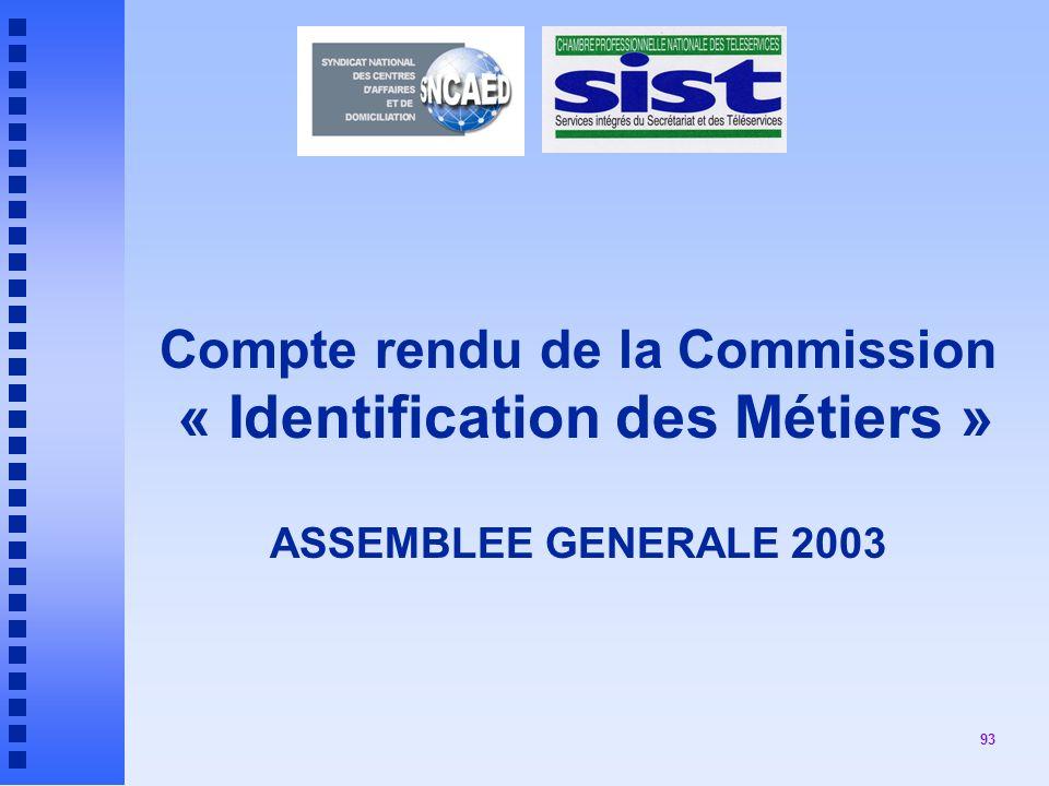93 Compte rendu de la Commission « Identification des Métiers » ASSEMBLEE GENERALE 2003