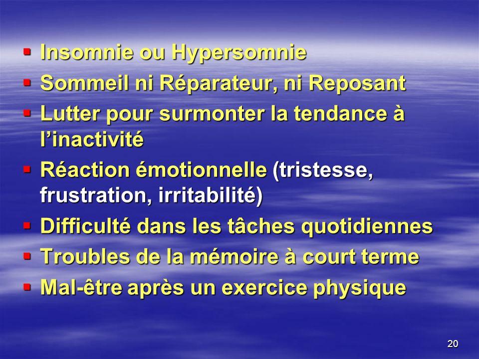 20 Insomnie ou Hypersomnie Insomnie ou Hypersomnie Sommeil ni Réparateur, ni Reposant Sommeil ni Réparateur, ni Reposant Lutter pour surmonter la tend