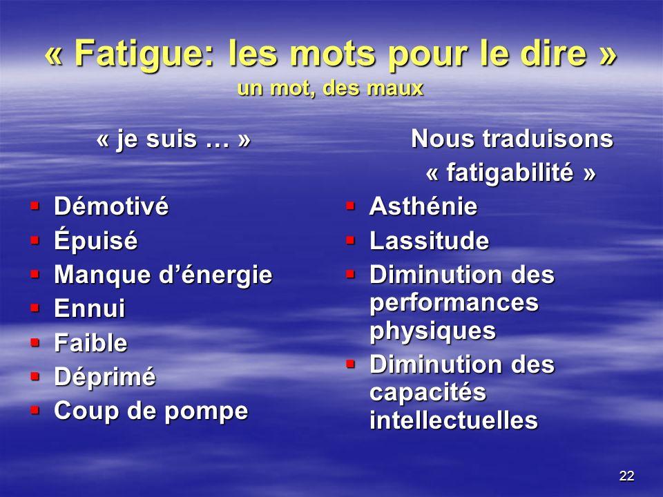 22 « Fatigue: les mots pour le dire » un mot, des maux « je suis … » Démotivé Démotivé Épuisé Épuisé Manque dénergie Manque dénergie Ennui Ennui Faibl