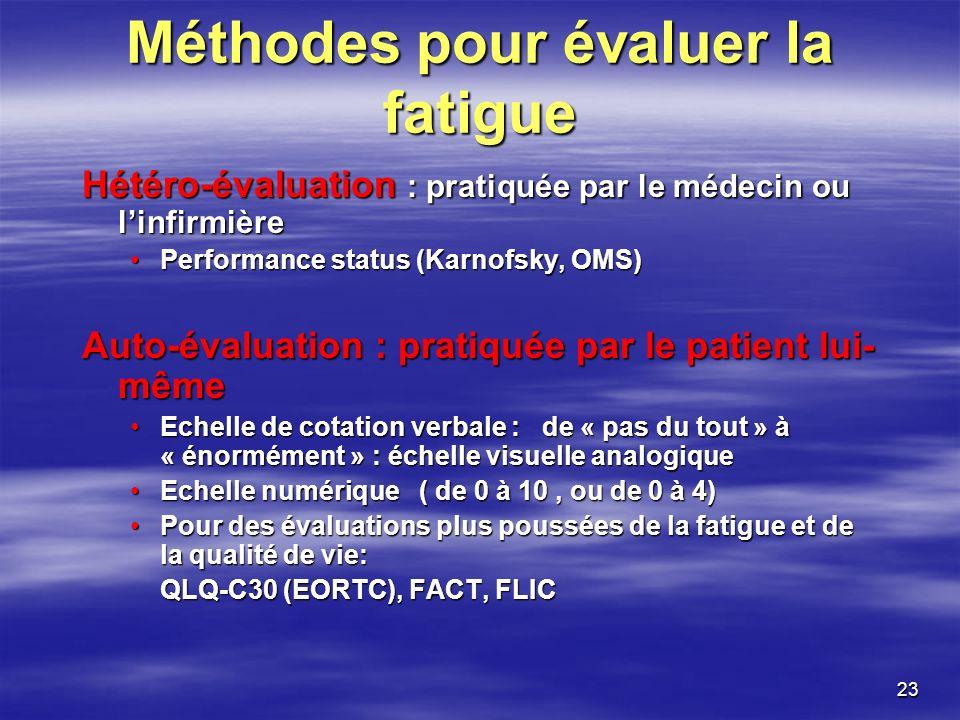 23 Méthodes pour évaluer la fatigue Hétéro-évaluation : pratiquée par le médecin ou linfirmière Performance status (Karnofsky, OMS)Performance status