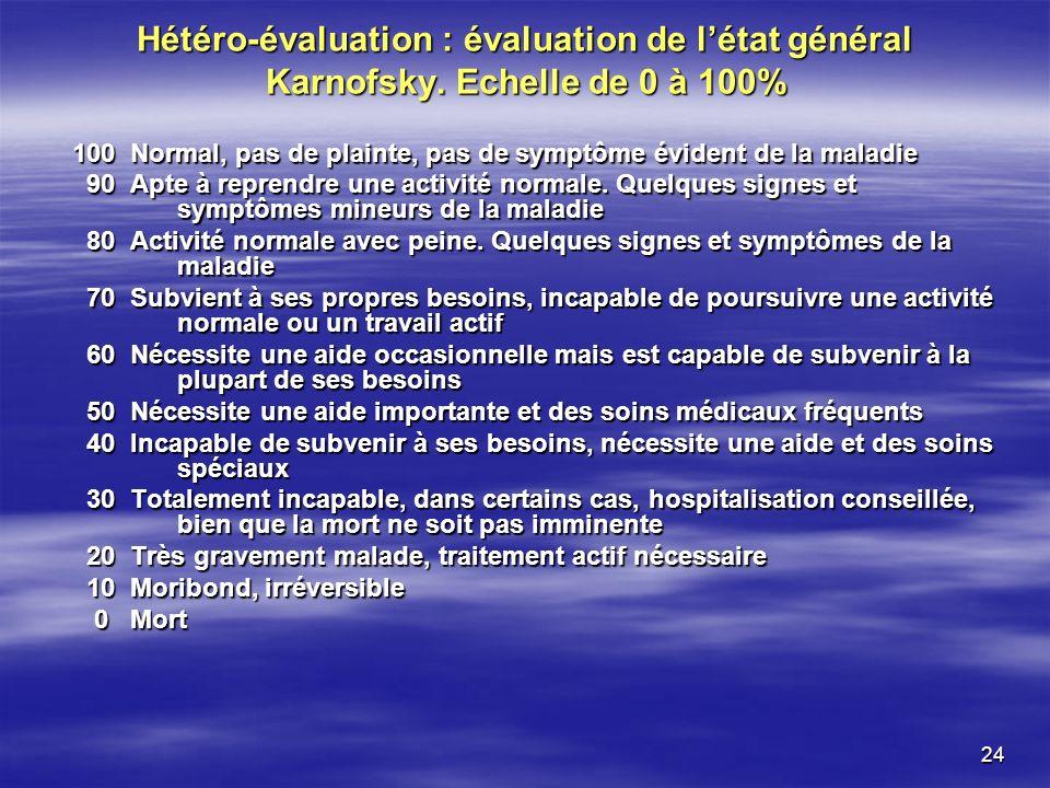 24 Hétéro-évaluation : évaluation de létat général Karnofsky. Echelle de 0 à 100% 100 Normal, pas de plainte, pas de symptôme évident de la maladie 90