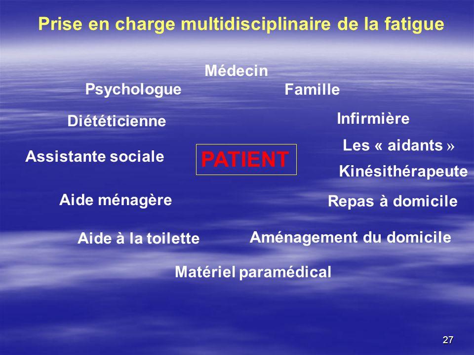 27 PATIENT Médecin Psychologue Diététicienne Assistante sociale Aide ménagère Aide à la toilette Matériel paramédical Famille Les « aidants » Kinésith