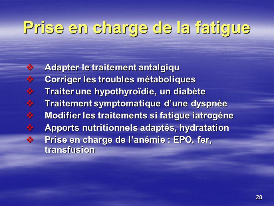 28 Prise en charge de la fatigue Adapter le traitement antalgiqu Adapter le traitement antalgiqu Corriger les troubles métaboliques Corriger les troub