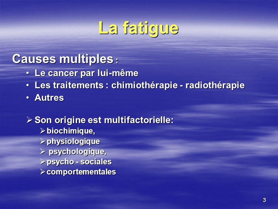 3 La fatigue Causes multiples : Le cancer par lui-mêmeLe cancer par lui-même Les traitements : chimiothérapie - radiothérapieLes traitements : chimiot
