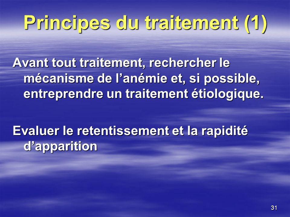 31 Principes du traitement (1) Avant tout traitement, rechercher le mécanisme de lanémie et, si possible, entreprendre un traitement étiologique. Eval