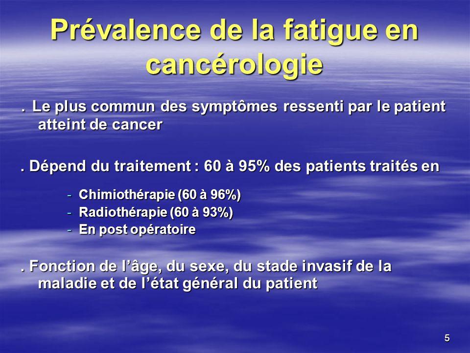 5 Prévalence de la fatigue en cancérologie. Le plus commun des symptômes ressenti par le patient atteint de cancer. Dépend du traitement : 60 à 95% de