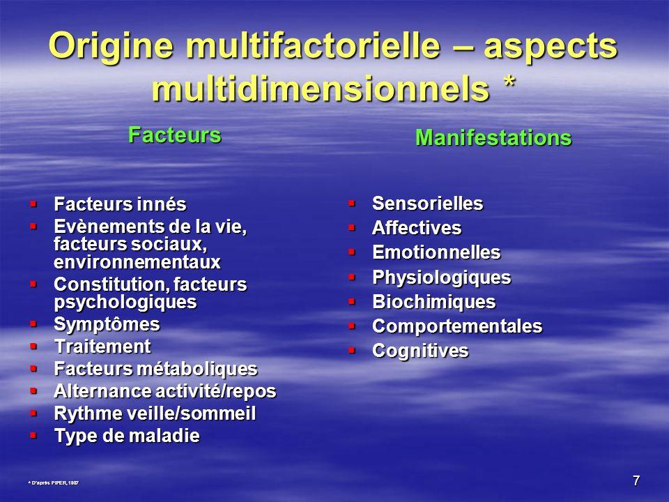 7 Origine multifactorielle – aspects multidimensionnels * Facteurs Facteurs innés Facteurs innés Evènements de la vie, facteurs sociaux, environnement