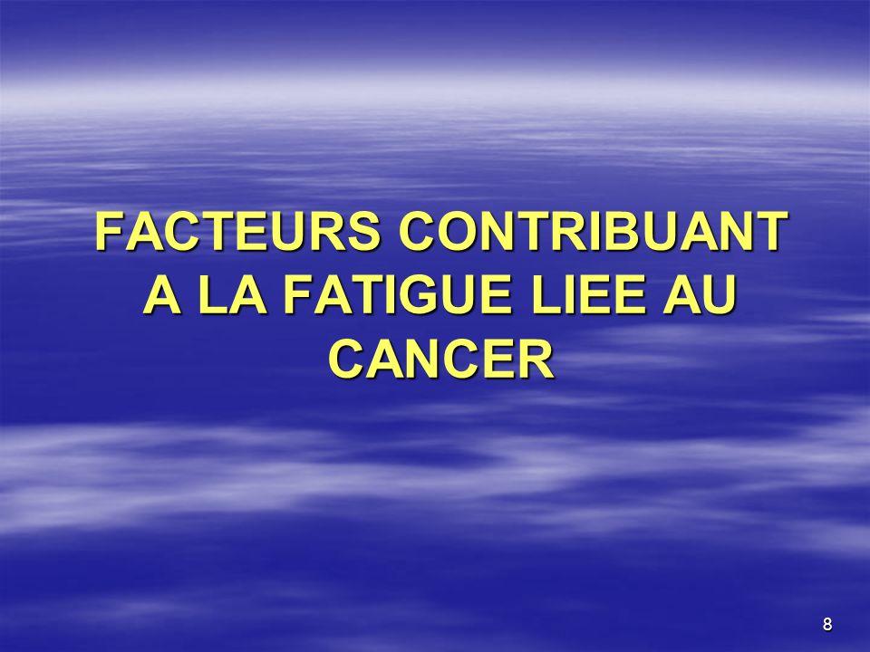 9 Effets directs du cancer et/ou du traitement Anémie (hémorragies, hémolyse, carences en fer, acide folique, vit B12, réduction de la synthèse dEPO, envahissement médullaire, inflammation Anémie (hémorragies, hémolyse, carences en fer, acide folique, vit B12, réduction de la synthèse dEPO, envahissement médullaire, inflammation, traitements anti-tumoraux), Cachexie (malnutrition = carences vitaminiques ou protéiques), Cachexie (malnutrition = carences vitaminiques ou protéiques), Infection, Infection, Hypercalcémie, hypokaliémie, hyponatrémie, hypomagnesémie.