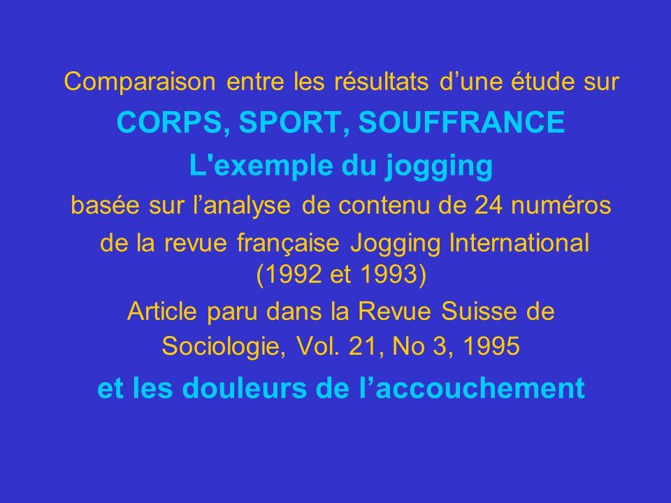 Comparaison entre les résultats dune étude sur CORPS, SPORT, SOUFFRANCE L'exemple du jogging basée sur lanalyse de contenu de 24 numéros de la revue f