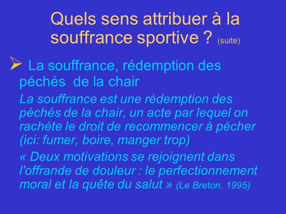 Quels sens attribuer à la souffrance sportive ? (suite) La souffrance, rédemption des péchés de la chair La souffrance est une rédemption des péchés d