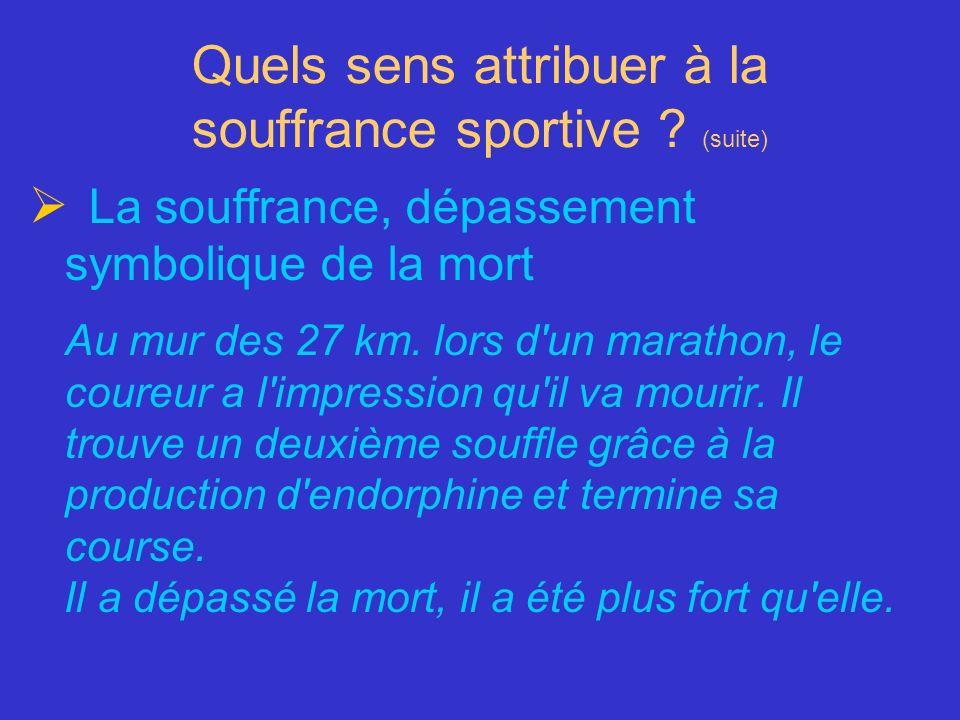 Quels sens attribuer à la souffrance sportive ? (suite) La souffrance, dépassement symbolique de la mort Au mur des 27 km. lors d'un marathon, le cour