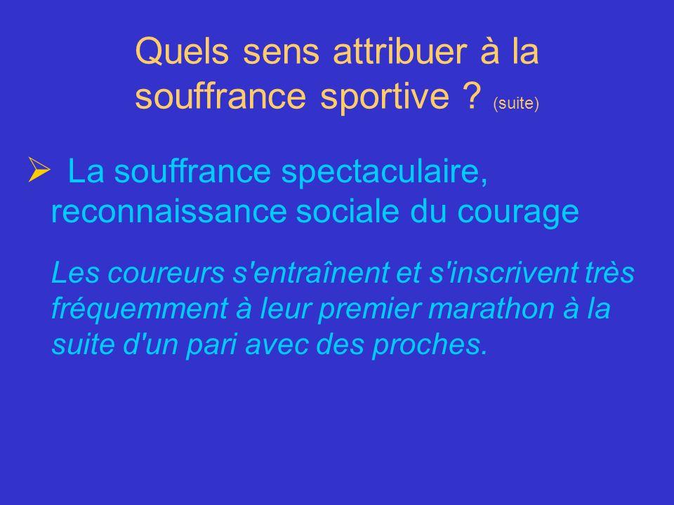 Quels sens attribuer à la souffrance sportive ? (suite) La souffrance spectaculaire, reconnaissance sociale du courage Les coureurs s'entraînent et s'