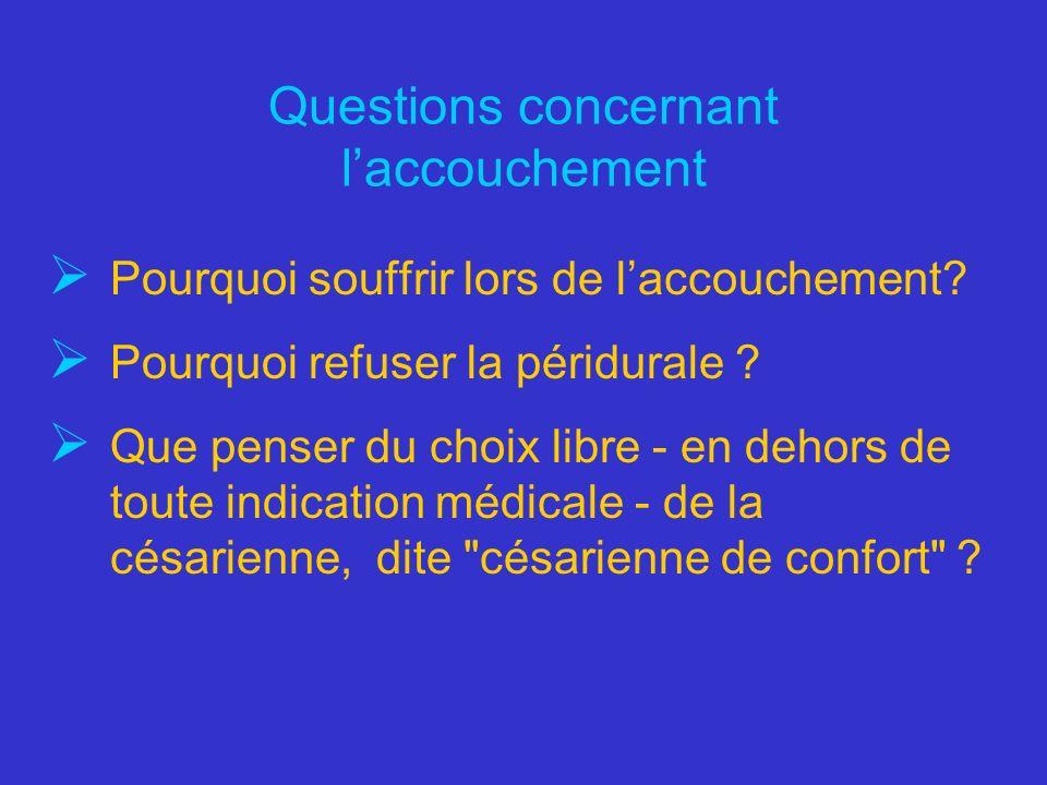 Questions concernant laccouchement Pourquoi souffrir lors de laccouchement? Pourquoi refuser la péridurale ? Que penser du choix libre - en dehors de
