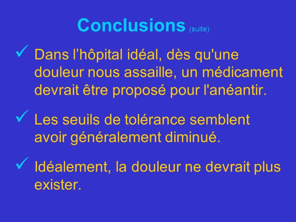 Conclusions (suite) Dans lhôpital idéal, dès qu'une douleur nous assaille, un médicament devrait être proposé pour l'anéantir. Les seuils de tolérance