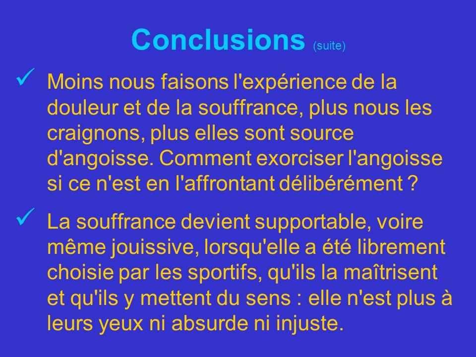 Conclusions (suite) Moins nous faisons l'expérience de la douleur et de la souffrance, plus nous les craignons, plus elles sont source d'angoisse. Com