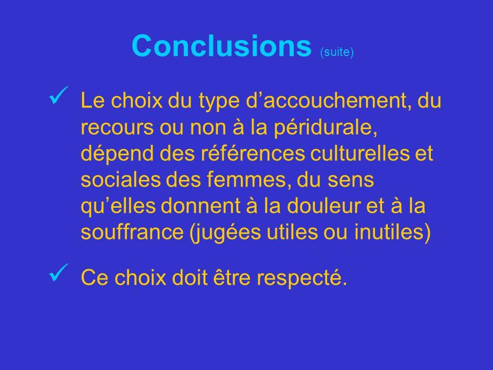 Conclusions (suite) Le choix du type daccouchement, du recours ou non à la péridurale, dépend des références culturelles et sociales des femmes, du se