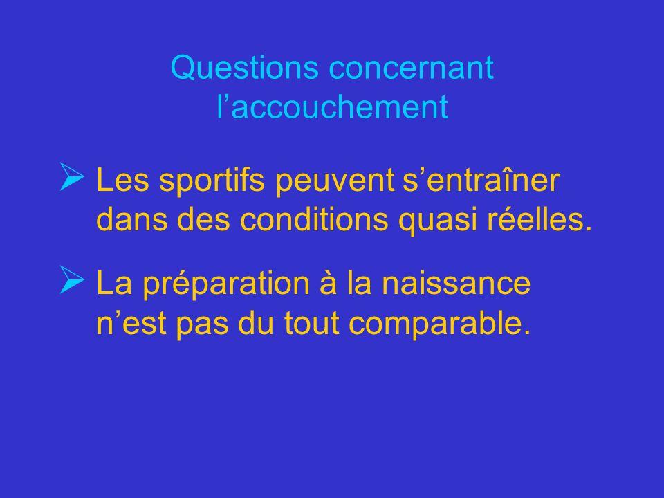 Questions concernant laccouchement Les sportifs peuvent sentraîner dans des conditions quasi réelles. La préparation à la naissance nest pas du tout c