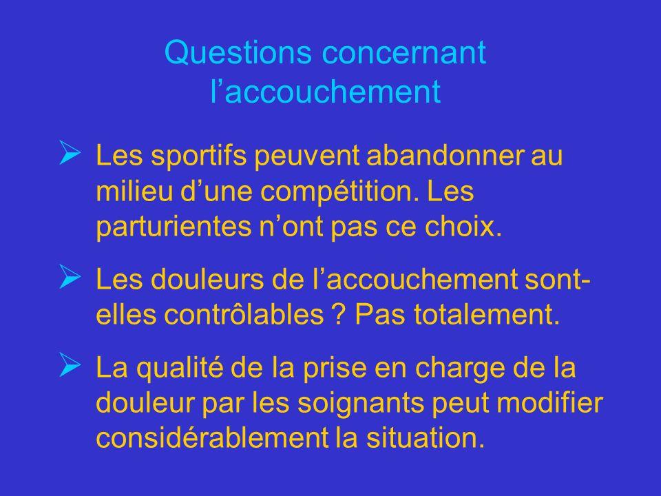 Questions concernant laccouchement Les sportifs peuvent abandonner au milieu dune compétition. Les parturientes nont pas ce choix. Les douleurs de lac