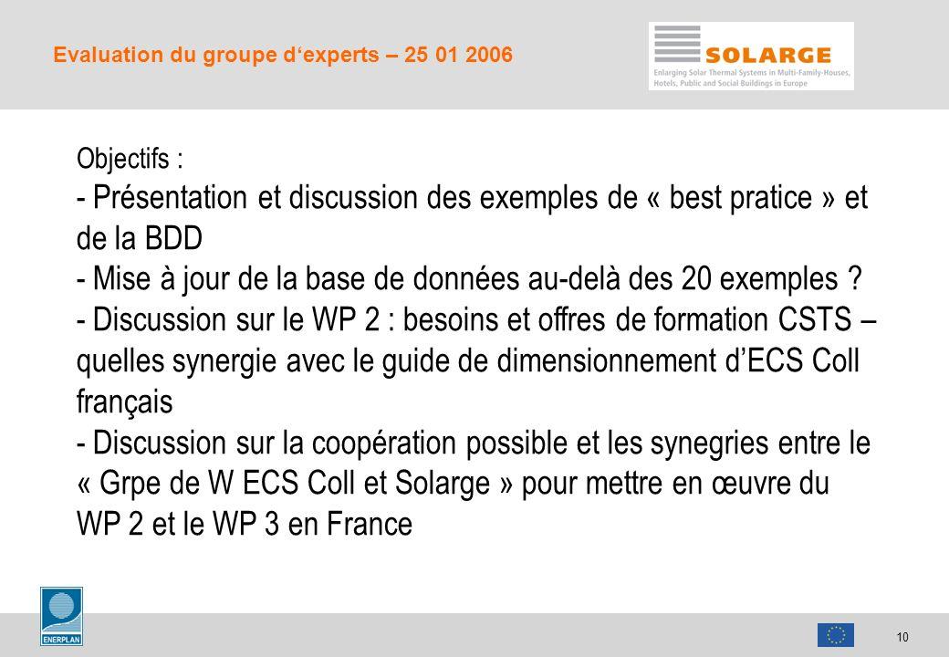 10 Evaluation du groupe dexperts – 25 01 2006 Objectifs : - Présentation et discussion des exemples de « best pratice » et de la BDD - Mise à jour de la base de données au-delà des 20 exemples .