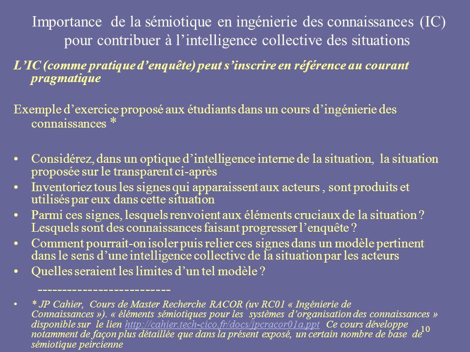 10 Importance de la sémiotique en ingénierie des connaissances (IC) pour contribuer à lintelligence collective des situations LIC (comme pratique denq