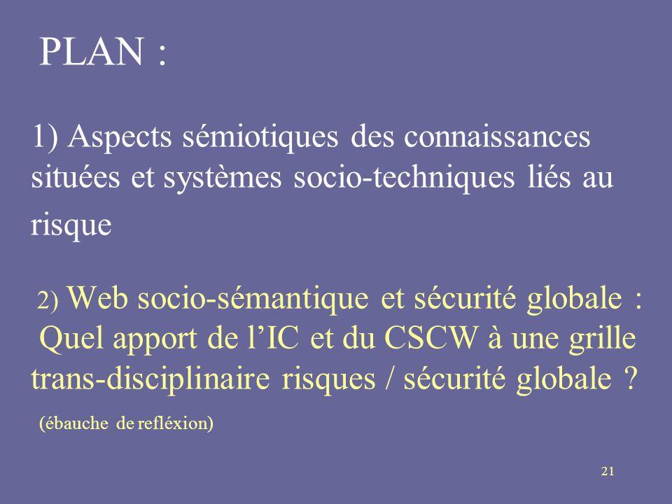 21 PLAN : 1) Aspects sémiotiques des connaissances situées et systèmes socio-techniques liés au risque 2) Web socio-sémantique et sécurité globale : Q