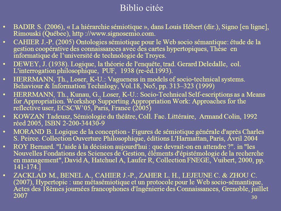 30 Biblio citée BADIR S. (2006), « La hiérarchie sémiotique », dans Louis Hébert (dir.), Signo [en ligne], Rimouski (Québec), http ://www.signosemio.c