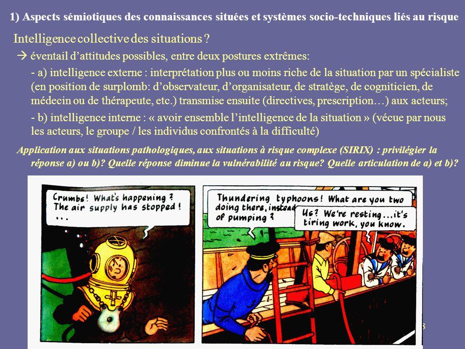 8 1) Aspects sémiotiques des connaissances situées et systèmes socio-techniques liés au risque Intelligence collective des situations ? éventail datti